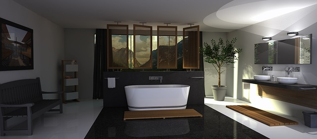 salle de bain avec miroir connecté
