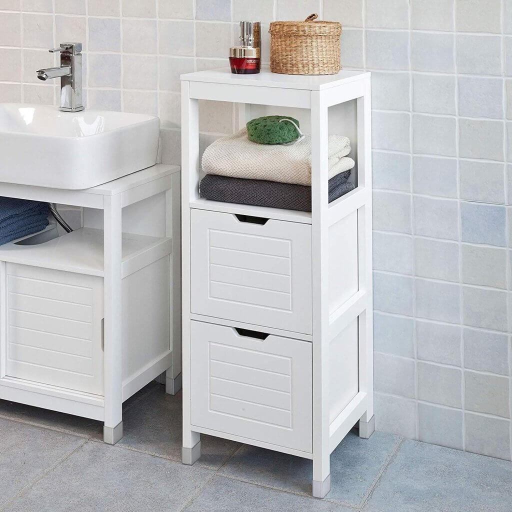 petit meuble de salle de bain avec 2 tiroirs