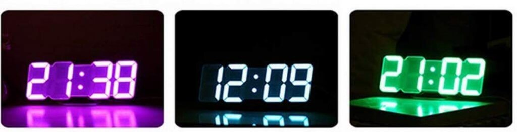horloge à led rgb en couleur