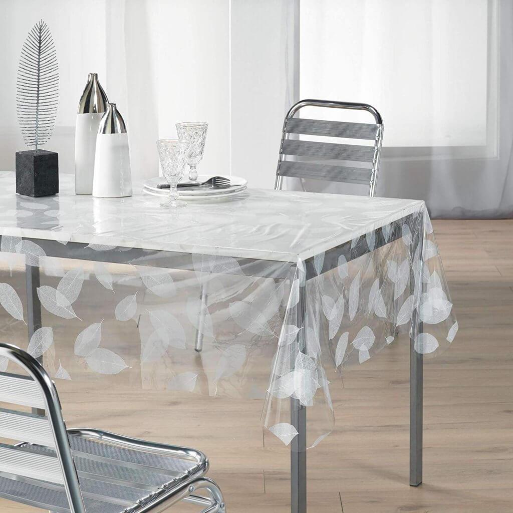 nappe transparente avec motif feuilles blanches