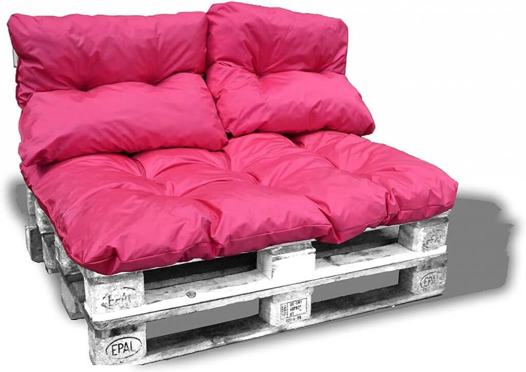coussins palette rose et impermables et super moelleux