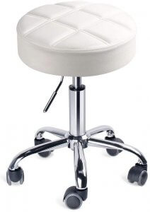tabouret confortable blanc à roulettes