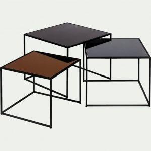 Manoli ensemble de 3 tables basses gigognes en métal et verre